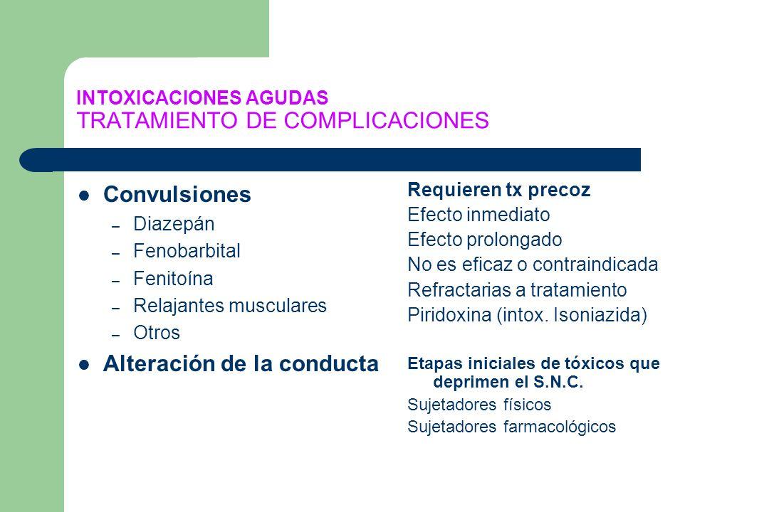 INTOXICACIONES AGUDAS TRATAMIENTO DE COMPLICACIONES Convulsiones – Diazepán – Fenobarbital – Fenitoína – Relajantes musculares – Otros Alteración de l