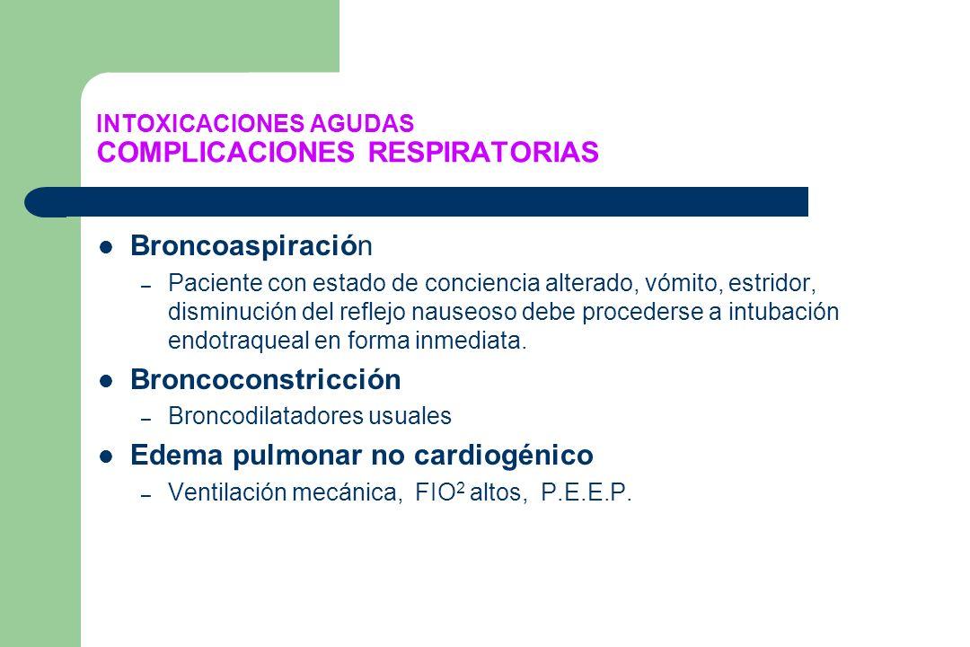 INTOXICACIONES AGUDAS COMPLICACIONES RESPIRATORIAS Broncoaspiración – Paciente con estado de conciencia alterado, vómito, estridor, disminución del re
