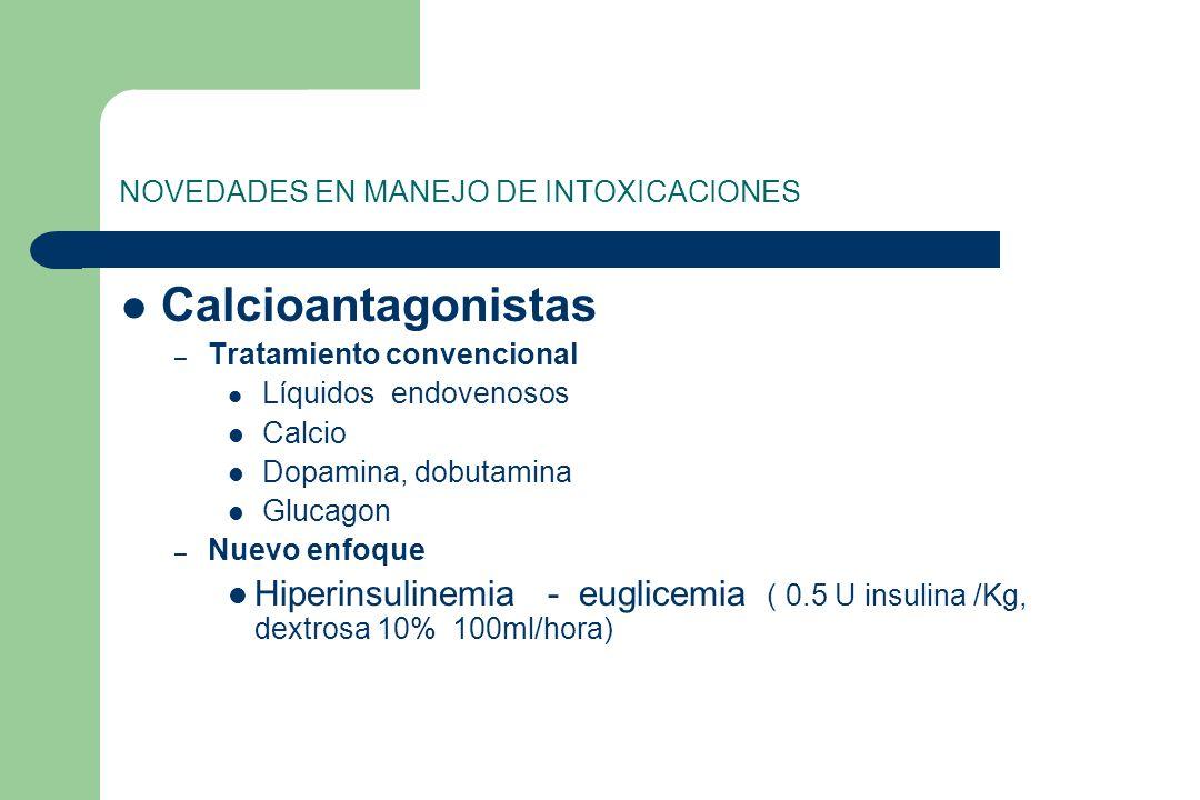 NOVEDADES EN MANEJO DE INTOXICACIONES Calcioantagonistas – Tratamiento convencional Líquidos endovenosos Calcio Dopamina, dobutamina Glucagon – Nuevo