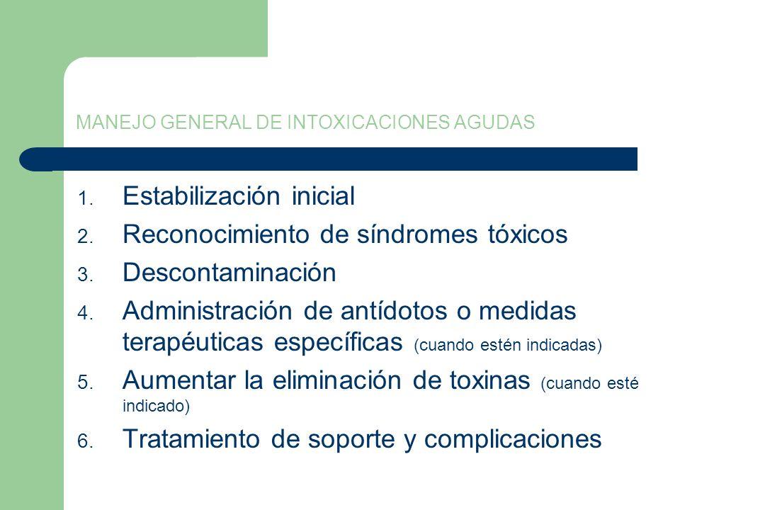 MANEJO GENERAL DE INTOXICACIONES AGUDAS 1. Estabilización inicial 2. Reconocimiento de síndromes tóxicos 3. Descontaminación 4. Administración de antí