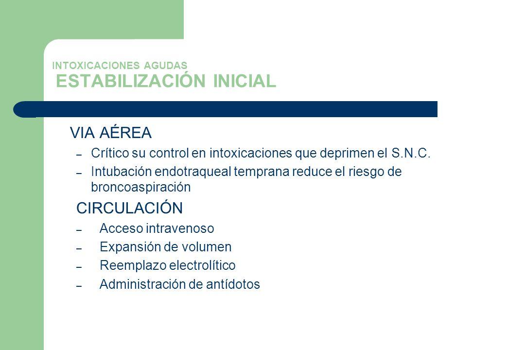 INTOXICACIONES AGUDAS ESTABILIZACIÓN INICIAL VIA AÉREA – Crítico su control en intoxicaciones que deprimen el S.N.C. – Intubación endotraqueal tempran