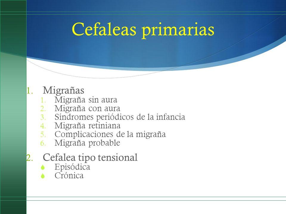 Cefaleas primarias 1. Migrañas 1. Migraña sin aura 2. Migraña con aura 3. Síndromes periódicos de la infancia 4. Migraña retiniana 5. Complicaciones d