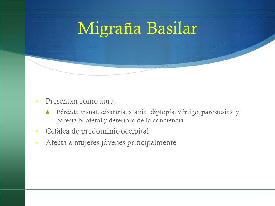 Migraña Basilar Presentan como aura: Pérdida visual, disartria, ataxia, diplopía, vértigo, parestesias y paresia bilateral y deterioro de la concienci