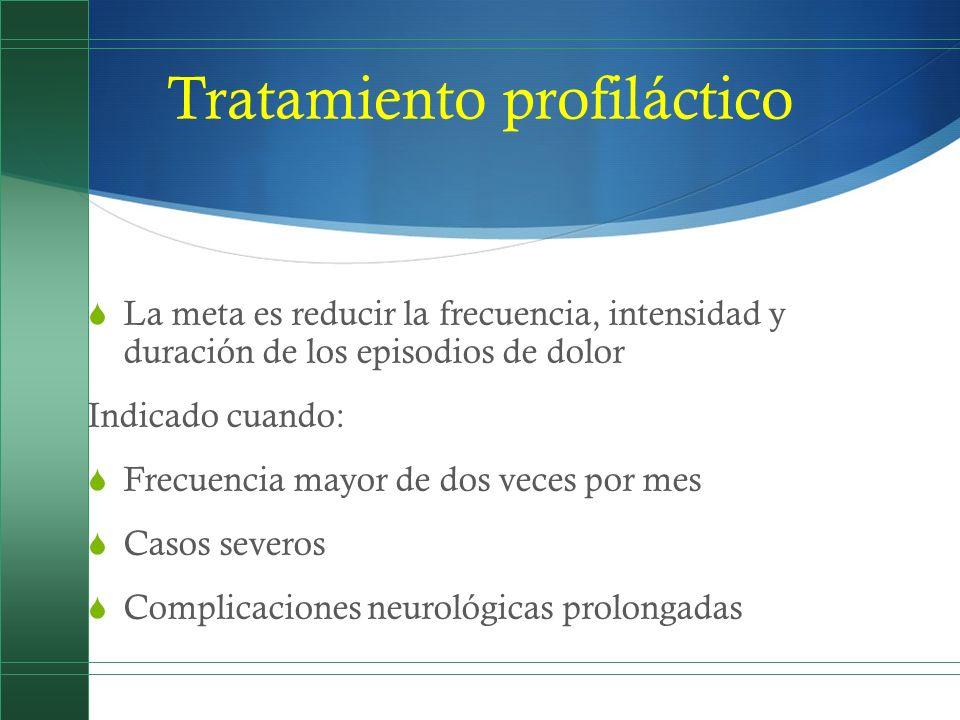 Tratamiento profiláctico La meta es reducir la frecuencia, intensidad y duración de los episodios de dolor Indicado cuando: Frecuencia mayor de dos ve