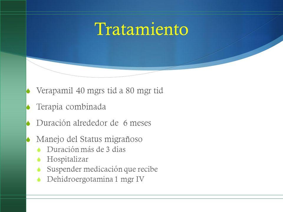 Tratamiento Verapamil 40 mgrs tid a 80 mgr tid Terapia combinada Duración alrededor de 6 meses Manejo del Status migrañoso Duración más de 3 días Hosp