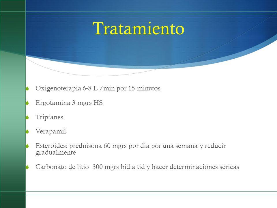 Tratamiento Oxigenoterapia 6-8 L /min por 15 minutos Ergotamina 3 mgrs HS Triptanes Verapamil Esteroides: prednisona 60 mgrs por día por una semana y