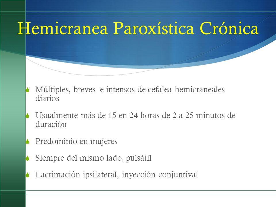 Hemicranea Paroxística Crónica Múltiples, breves e intensos de cefalea hemicraneales diarios Usualmente más de 15 en 24 horas de 2 a 25 minutos de dur