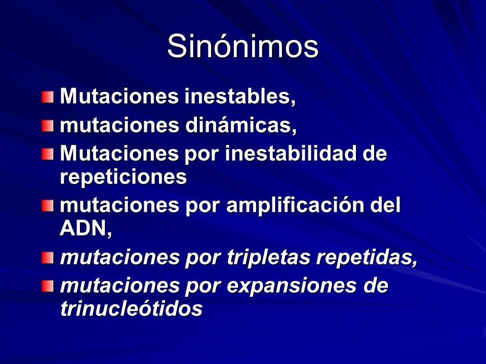 Sinónimos Mutaciones inestables, mutaciones dinámicas, Mutaciones por inestabilidad de repeticiones mutaciones por amplificación del ADN, mutaciones p