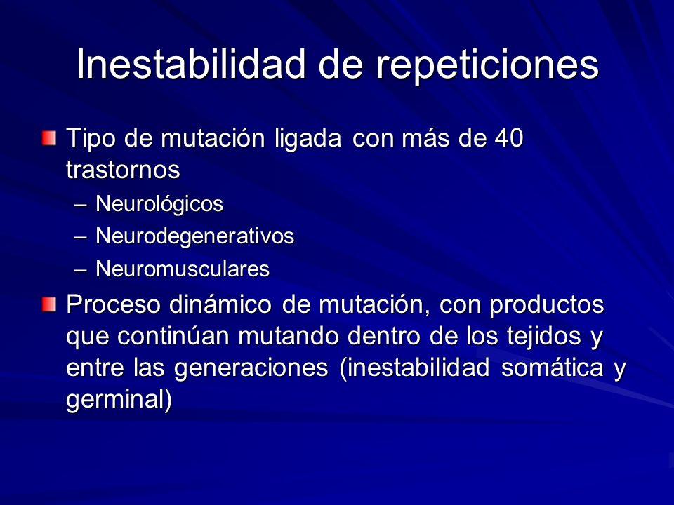 Inestabilidad de repeticiones Tipo de mutación ligada con más de 40 trastornos –Neurológicos –Neurodegenerativos –Neuromusculares Proceso dinámico de