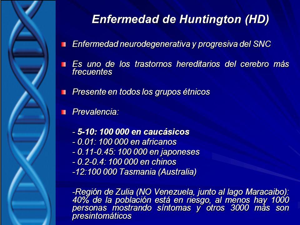 Enfermedad de Huntington (HD) Enfermedad neurodegenerativa y progresiva del SNC Es uno de los trastornos hereditarios del cerebro más frecuentes Prese