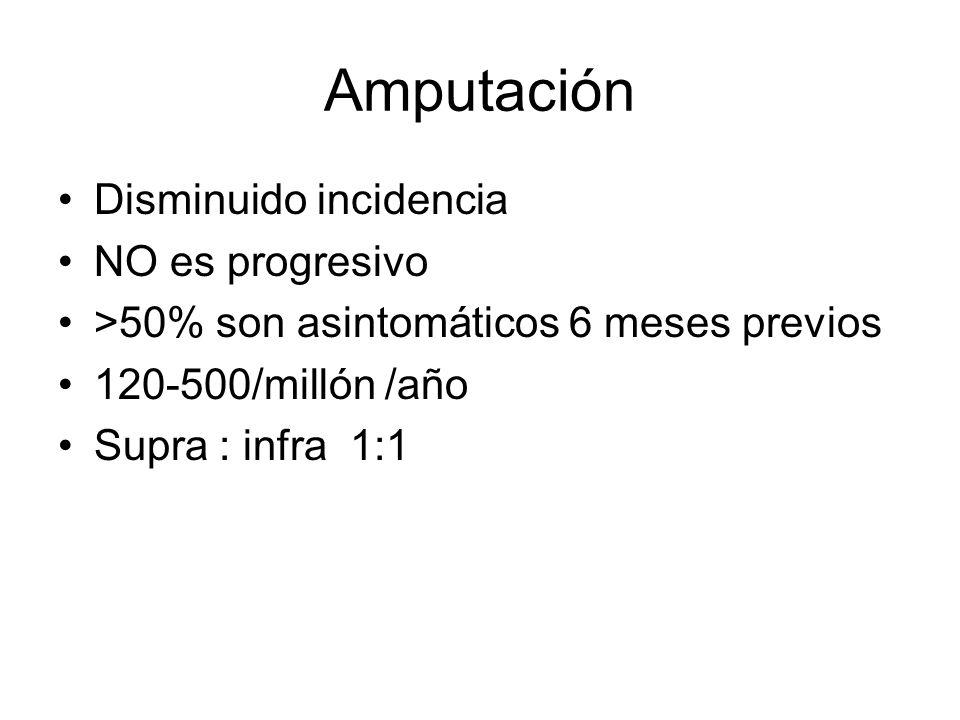 Amputación Disminuido incidencia NO es progresivo >50% son asintomáticos 6 meses previos 120-500/millón /año Supra : infra 1:1