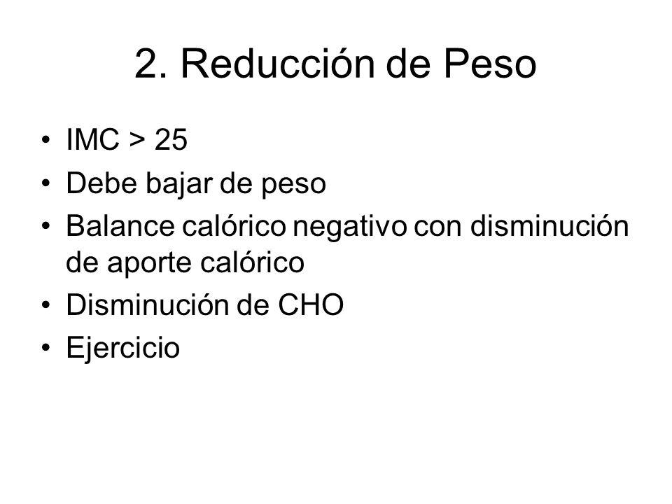 2. Reducción de Peso IMC > 25 Debe bajar de peso Balance calórico negativo con disminución de aporte calórico Disminución de CHO Ejercicio
