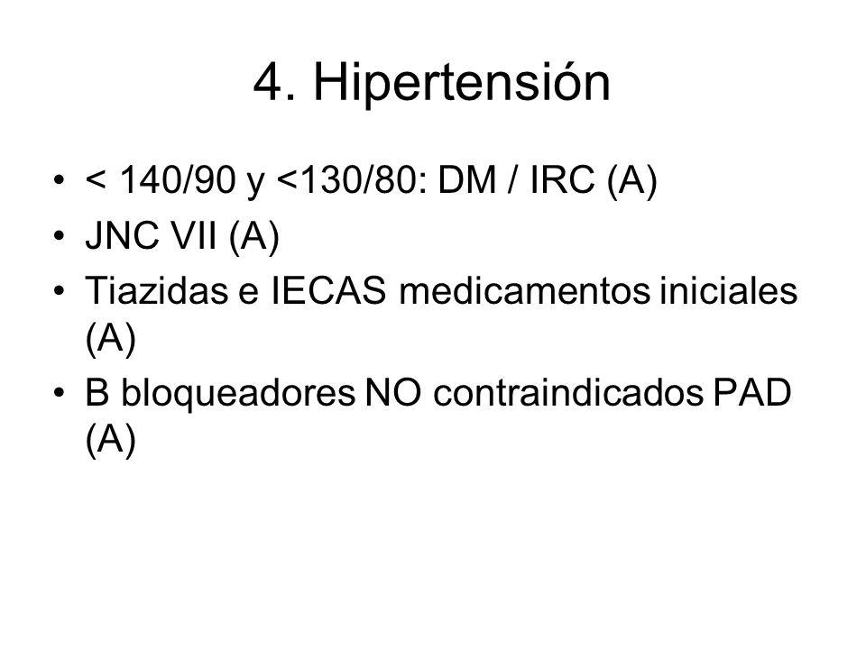 4. Hipertensión < 140/90 y <130/80: DM / IRC (A) JNC VII (A) Tiazidas e IECASmedicamentos iniciales (A) Β bloqueadores NO contraindicados PAD (A)