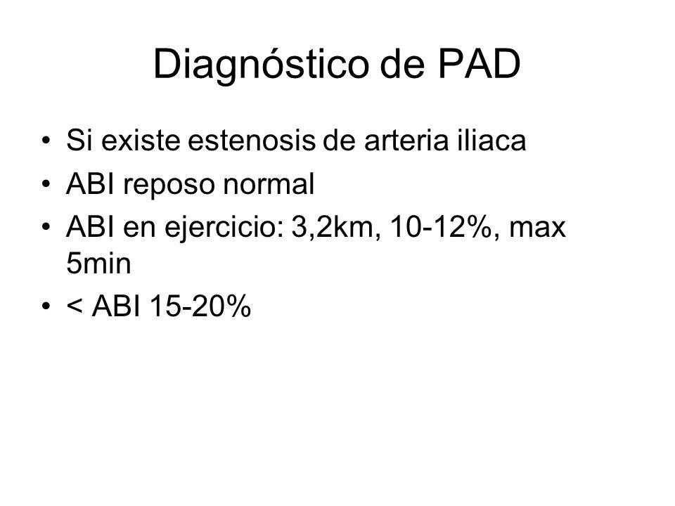 Diagnóstico de PAD Si existe estenosis de arteria iliaca ABI reposo normal ABI en ejercicio: 3,2km, 10-12%, max 5min < ABI 15-20%