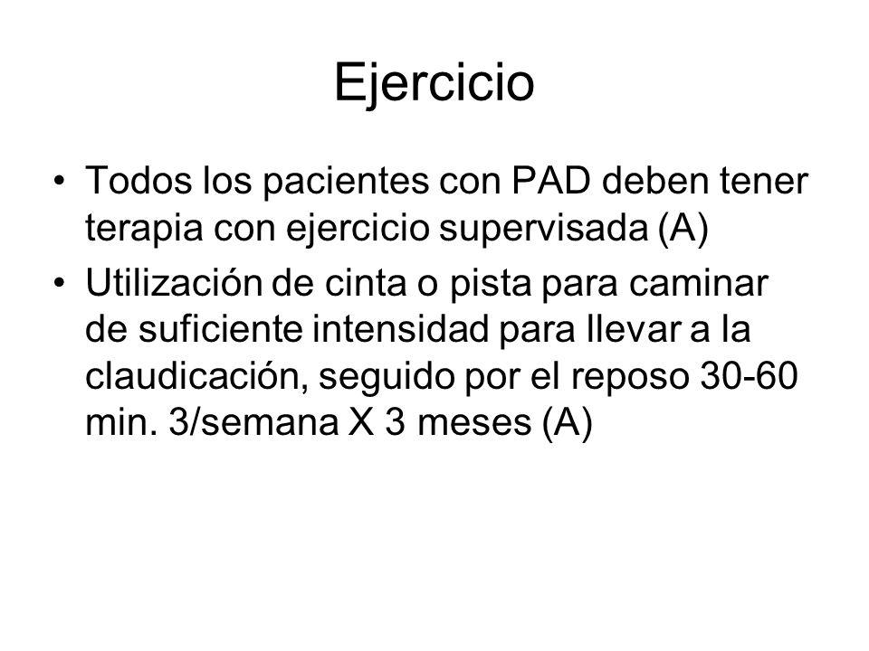Ejercicio Todos los pacientes con PAD deben tener terapia con ejercicio supervisada (A) Utilización de cinta o pista para caminar de suficiente intens