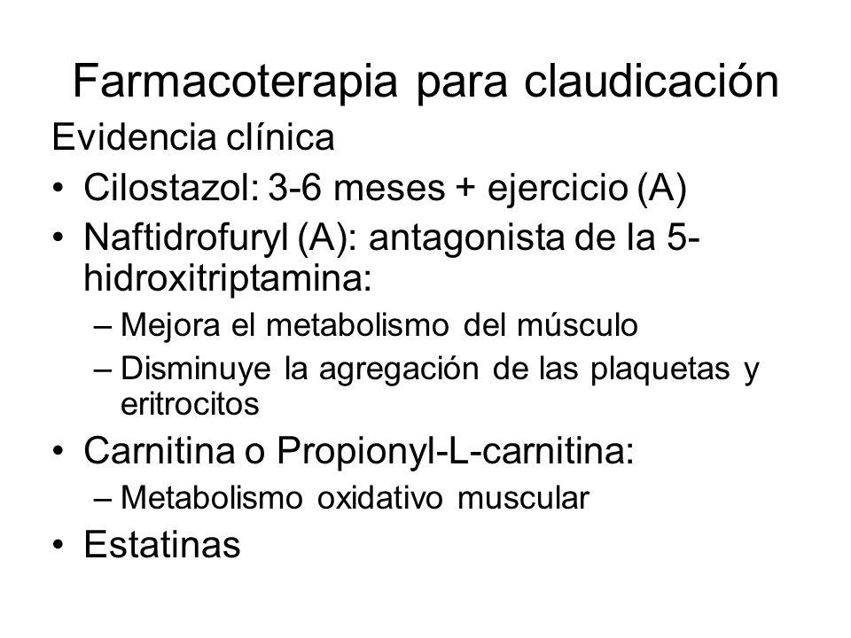 Farmacoterapia para claudicación Evidencia clínica Cilostazol: 3-6 meses + ejercicio (A) Naftidrofuryl (A): antagonista de la 5- hidroxitriptamina: –M