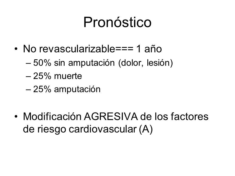 Pronóstico No revascularizable=== 1 año –50% sin amputación (dolor, lesión) –25% muerte –25% amputación Modificación AGRESIVA de los factores de riesg
