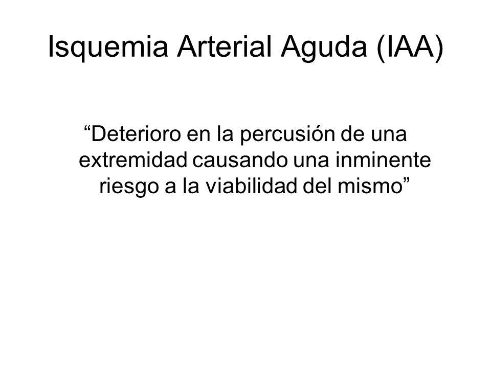 Isquemia Arterial Aguda (IAA) Deterioro en la percusión de una extremidad causando una inminente riesgo a la viabilidad del mismo