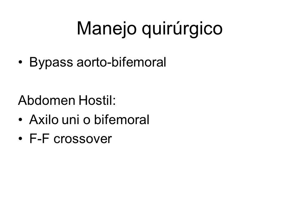 Manejo quirúrgico Bypass aorto-bifemoral Abdomen Hostil: Axilo uni o bifemoral F-F crossover