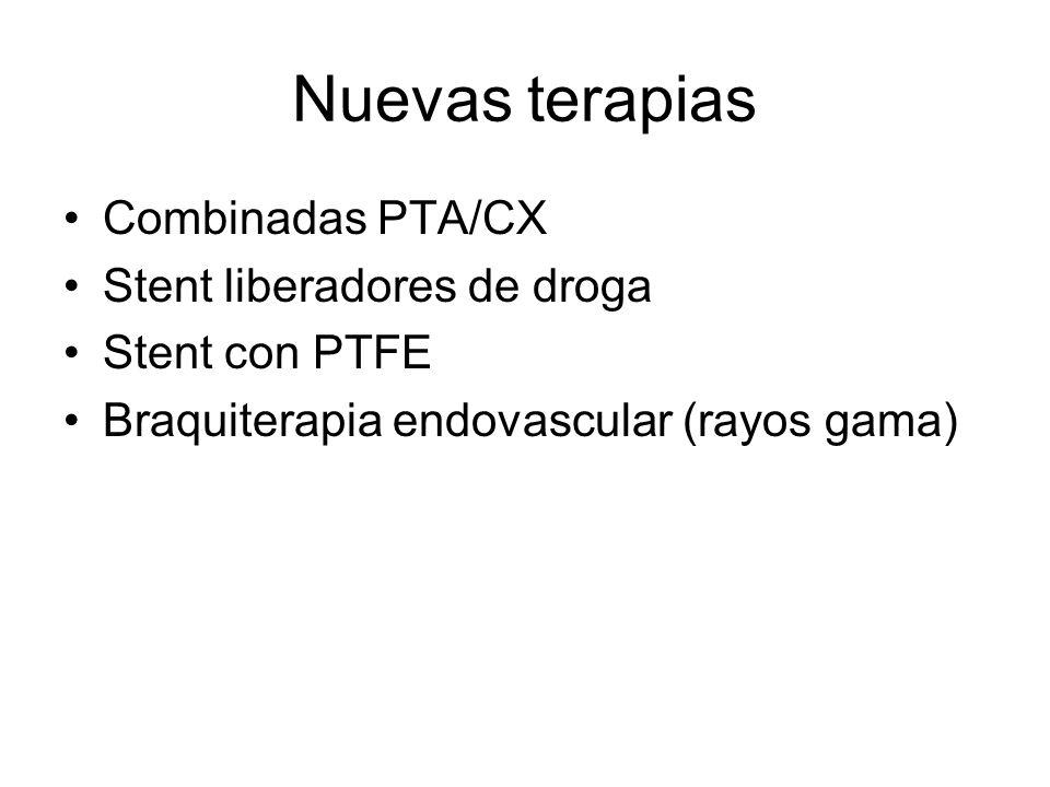 Nuevas terapias Combinadas PTA/CX Stent liberadores de droga Stent con PTFE Braquiterapia endovascular (rayos gama)