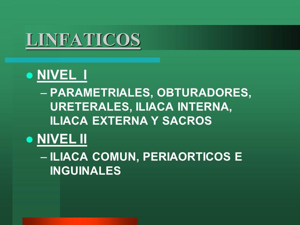 LINFATICOS NIVEL I –PARAMETRIALES, OBTURADORES, URETERALES, ILIACA INTERNA, ILIACA EXTERNA Y SACROS NIVEL II –ILIACA COMUN, PERIAORTICOS E INGUINALES