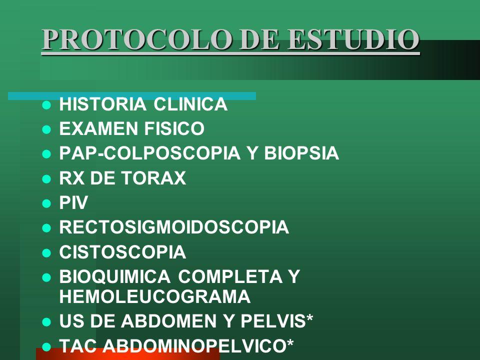PROTOCOLO DE ESTUDIO HISTORIA CLINICA EXAMEN FISICO PAP-COLPOSCOPIA Y BIOPSIA RX DE TORAX PIV RECTOSIGMOIDOSCOPIA CISTOSCOPIA BIOQUIMICA COMPLETA Y HE