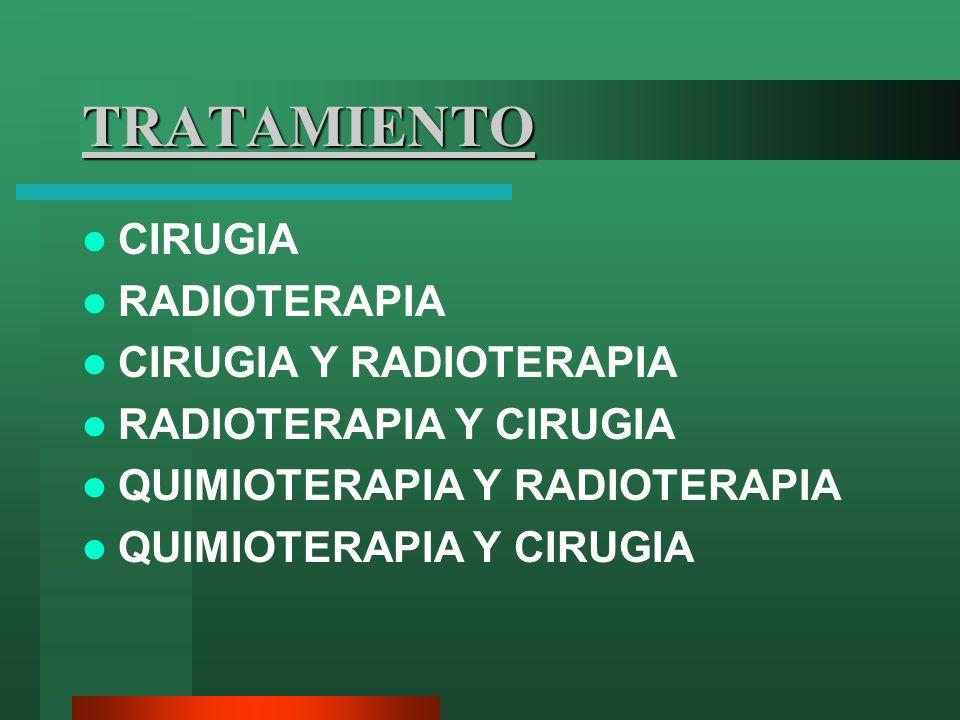 TRATAMIENTO CIRUGIA RADIOTERAPIA CIRUGIA Y RADIOTERAPIA RADIOTERAPIA Y CIRUGIA QUIMIOTERAPIA Y RADIOTERAPIA QUIMIOTERAPIA Y CIRUGIA