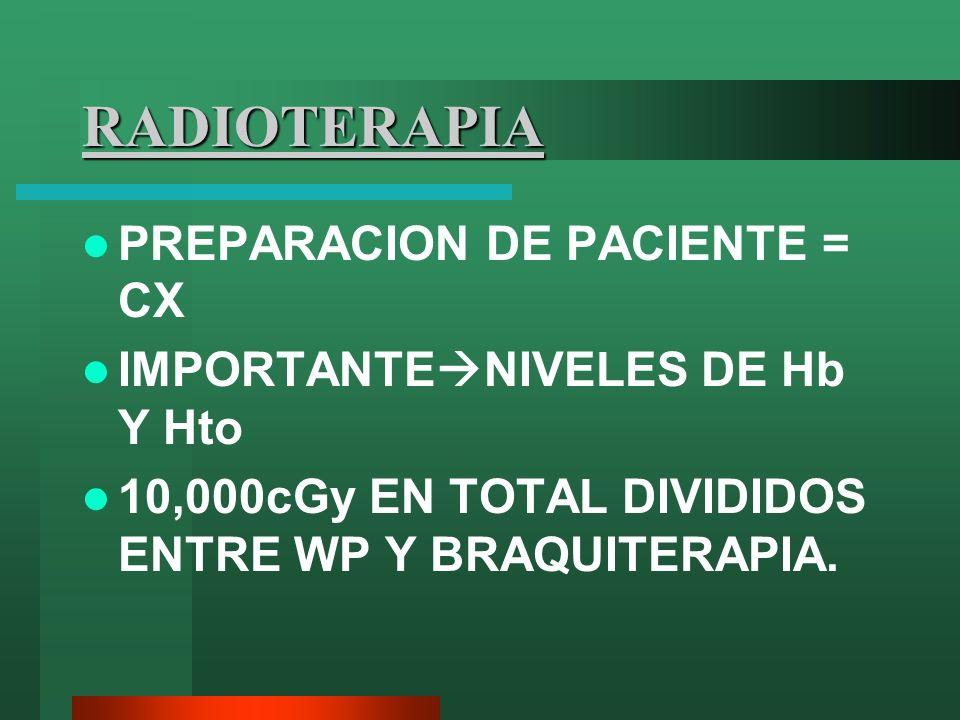 RADIOTERAPIA PREPARACION DE PACIENTE = CX IMPORTANTE NIVELES DE Hb Y Hto 10,000cGy EN TOTAL DIVIDIDOS ENTRE WP Y BRAQUITERAPIA.