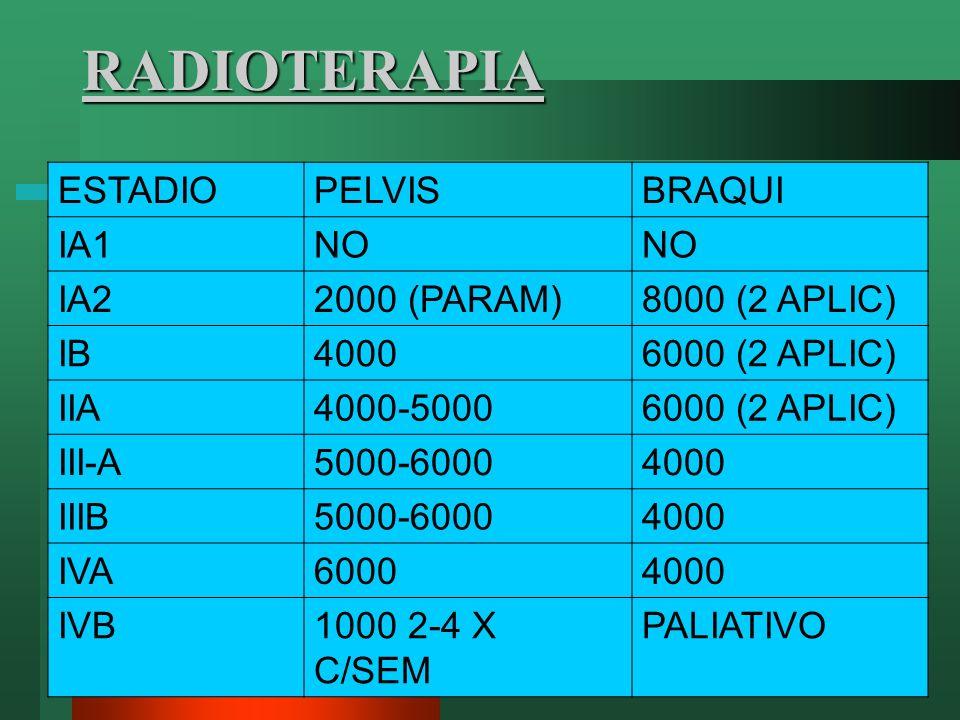 RADIOTERAPIA ESTADIOPELVISBRAQUI IA1NO IA22000 (PARAM)8000 (2 APLIC) IB40006000 (2 APLIC) IIA4000-50006000 (2 APLIC) III-A5000-60004000 IIIB5000-60004