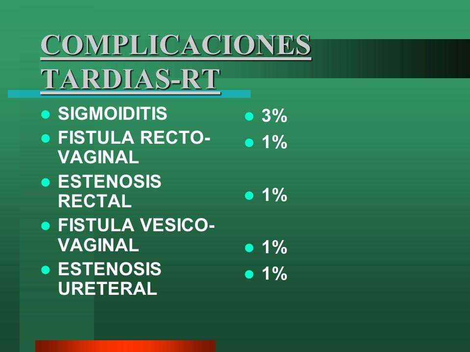 COMPLICACIONES TARDIAS-RT SIGMOIDITIS FISTULA RECTO- VAGINAL ESTENOSIS RECTAL FISTULA VESICO- VAGINAL ESTENOSIS URETERAL 3% 1%