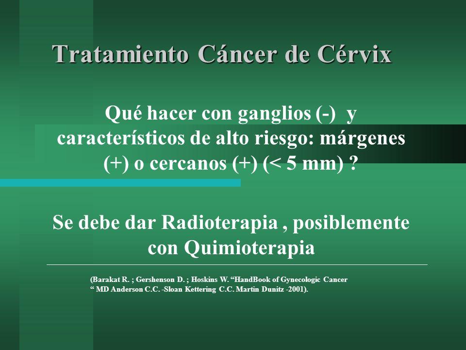 Tratamiento Cáncer de Cérvix Qué hacer con ganglios (-) y característicos de alto riesgo: márgenes (+) o cercanos (+) (< 5 mm) ? Se debe dar Radiotera