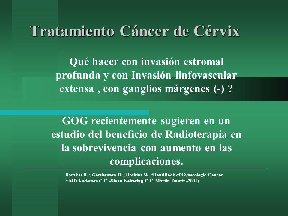 Tratamiento Cáncer de Cérvix Qué hacer con invasión estromal profunda y con Invasión linfovascular extensa, con ganglios márgenes (-) ? GOG recienteme