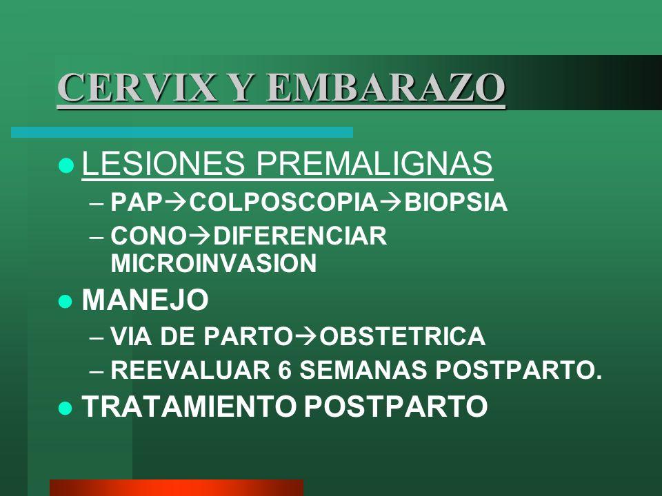 CERVIX Y EMBARAZO LESIONES PREMALIGNAS –PAP COLPOSCOPIA BIOPSIA –CONO DIFERENCIAR MICROINVASION MANEJO –VIA DE PARTO OBSTETRICA –REEVALUAR 6 SEMANAS P