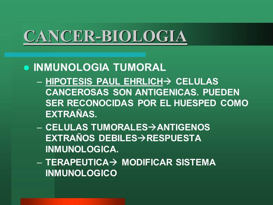 CANCER-BIOLOGIA INMUNOLOGIA TUMORAL –HIPOTESIS PAUL EHRLICH CELULAS CANCEROSAS SON ANTIGENICAS. PUEDEN SER RECONOCIDAS POR EL HUESPED COMO EXTRAÑAS. –