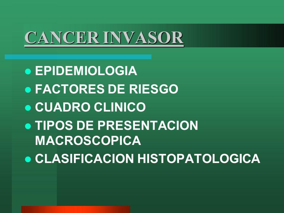 CANCER INVASOR EPIDEMIOLOGIA FACTORES DE RIESGO CUADRO CLINICO TIPOS DE PRESENTACION MACROSCOPICA CLASIFICACION HISTOPATOLOGICA