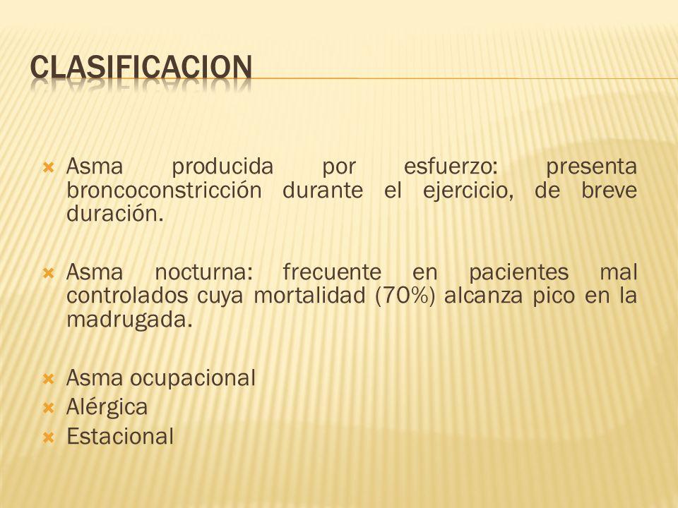 Asma producida por esfuerzo: presenta broncoconstricción durante el ejercicio, de breve duración. Asma nocturna: frecuente en pacientes mal controlado