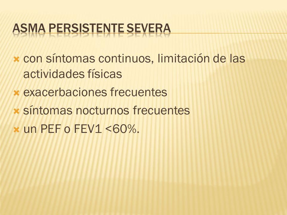 con síntomas continuos, limitación de las actividades físicas exacerbaciones frecuentes síntomas nocturnos frecuentes un PEF o FEV1 <60%.