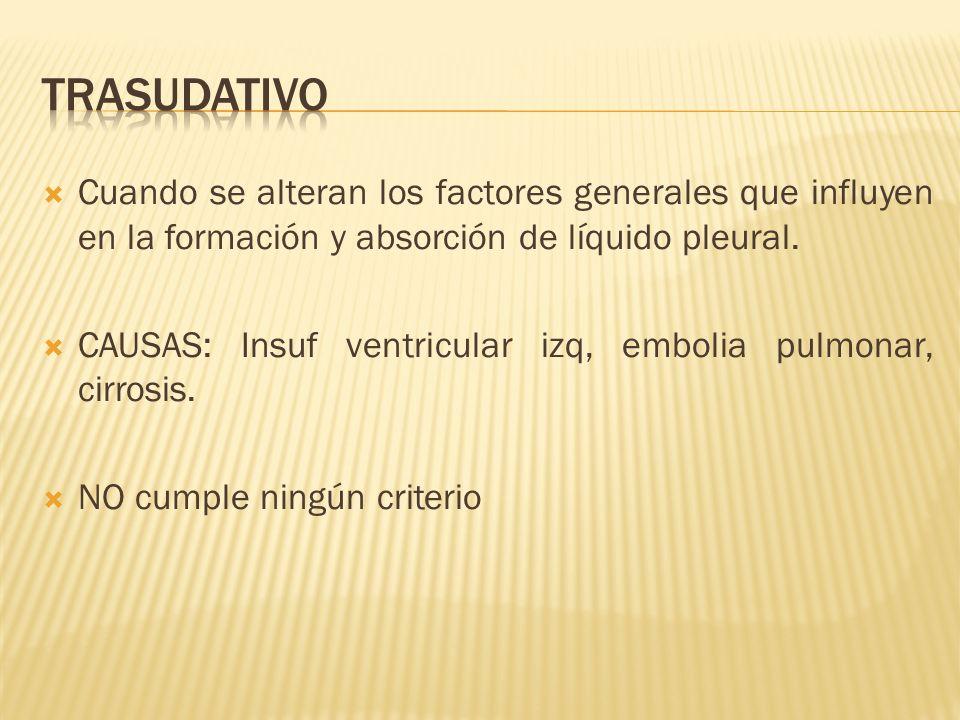 Cuando se alteran los factores generales que influyen en la formación y absorción de líquido pleural. CAUSAS: Insuf ventricular izq, embolia pulmonar,