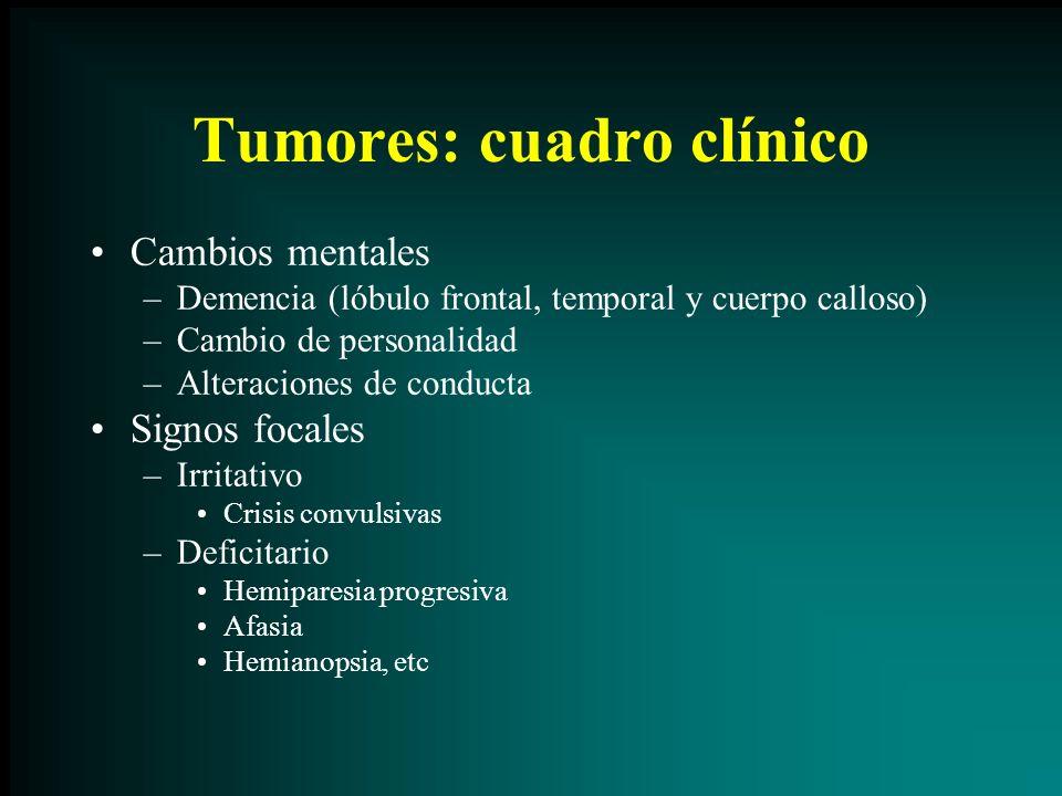 Tumores: cuadro clínico Cambios mentales –Demencia (lóbulo frontal, temporal y cuerpo calloso) –Cambio de personalidad –Alteraciones de conducta Signo