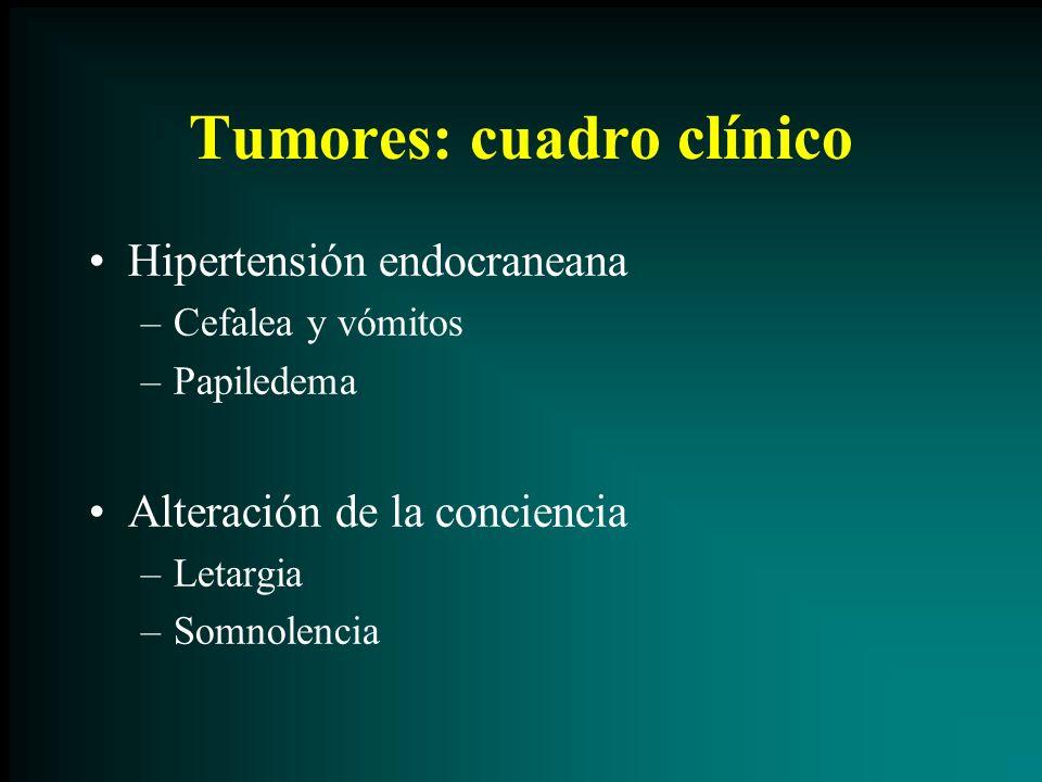 Tumores: cuadro clínico Hipertensión endocraneana –Cefalea y vómitos –Papiledema Alteración de la conciencia –Letargia –Somnolencia