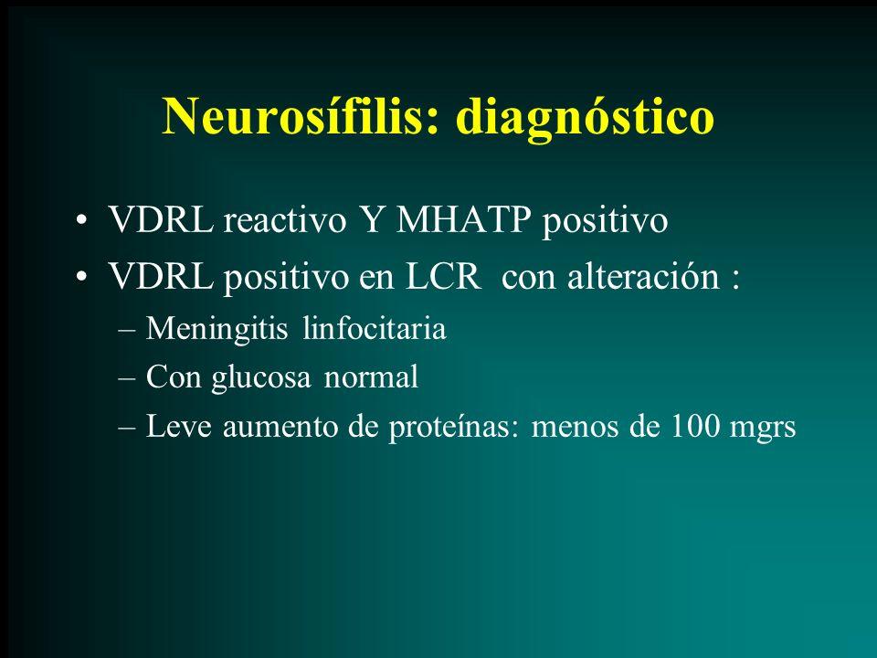 Neurosífilis: diagnóstico VDRL reactivo Y MHATP positivo VDRL positivo en LCR con alteración : –Meningitis linfocitaria –Con glucosa normal –Leve aume