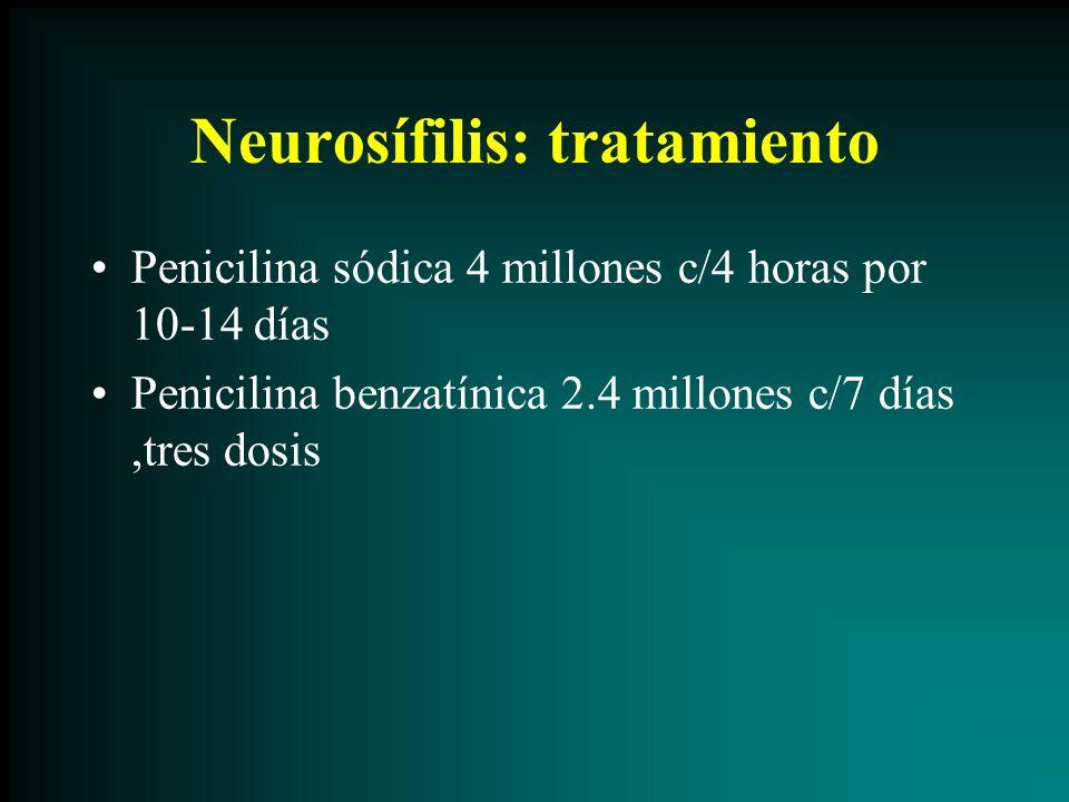 Neurosífilis: tratamiento Penicilina sódica 4 millones c/4 horas por 10-14 días Penicilina benzatínica 2.4 millones c/7 días,tres dosis