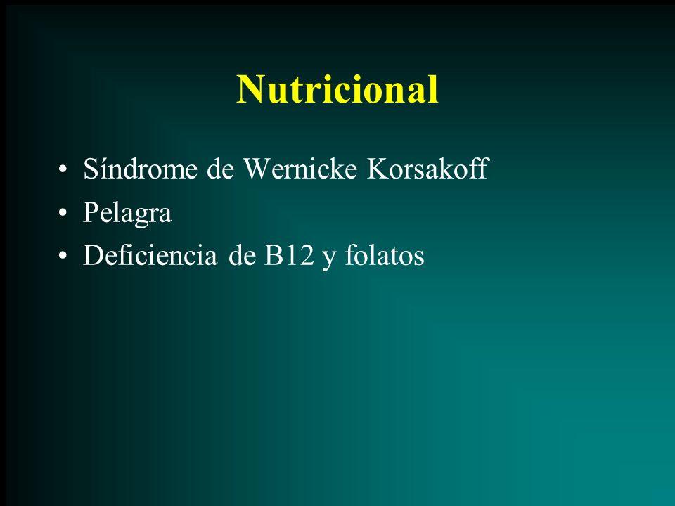 Nutricional Síndrome de Wernicke Korsakoff Pelagra Deficiencia de B12 y folatos