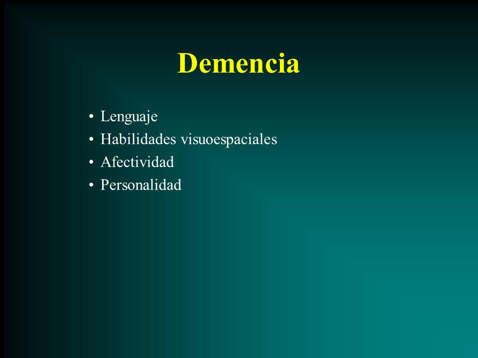 Demencia Lenguaje Habilidades visuoespaciales Afectividad Personalidad