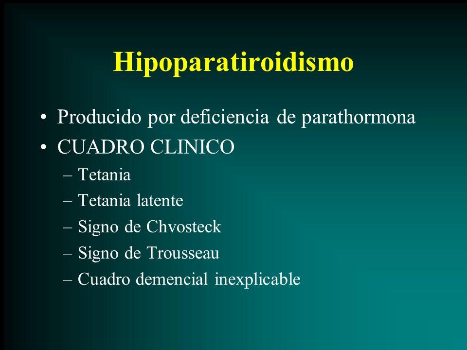 Hipoparatiroidismo Producido por deficiencia de parathormona CUADRO CLINICO –Tetania –Tetania latente –Signo de Chvosteck –Signo de Trousseau –Cuadro