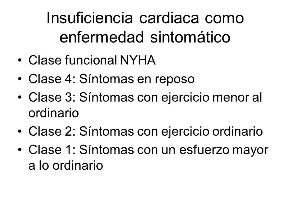 Insuficiencia cardiaca como enfermedad sintomático Clase funcional NYHA Clase 4: Síntomas en reposo Clase 3: Síntomas con ejercicio menor al ordinario Clase 2: Síntomas con ejercicio ordinario Clase 1: Síntomas con un esfuerzo mayor a lo ordinario