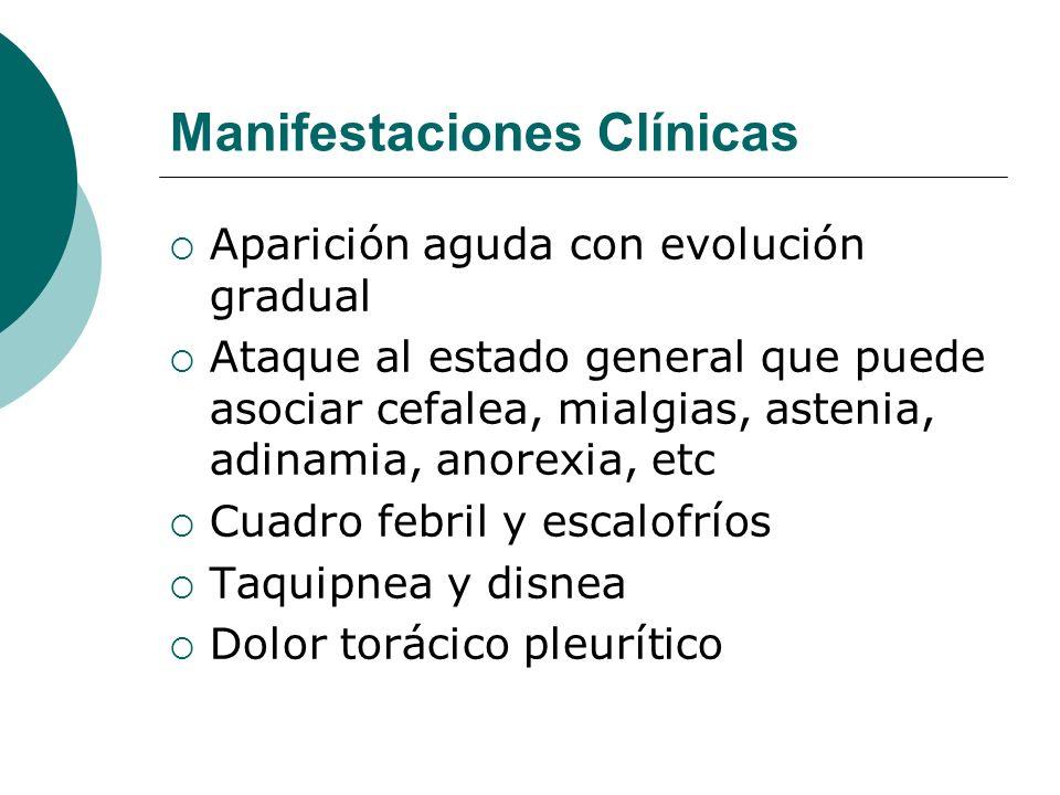 Manifestaciones Clínicas Aparición aguda con evolución gradual Ataque al estado general que puede asociar cefalea, mialgias, astenia, adinamia, anorex