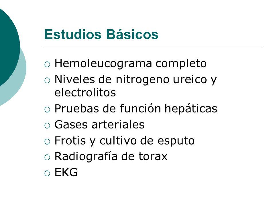 Estudios Básicos Hemoleucograma completo Niveles de nitrogeno ureico y electrolitos Pruebas de función hepáticas Gases arteriales Frotis y cultivo de