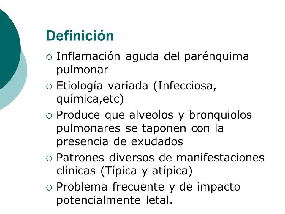 Definición Inflamación aguda del parénquima pulmonar Etiología variada (Infecciosa, química,etc) Produce que alveolos y bronquiolos pulmonares se tapo