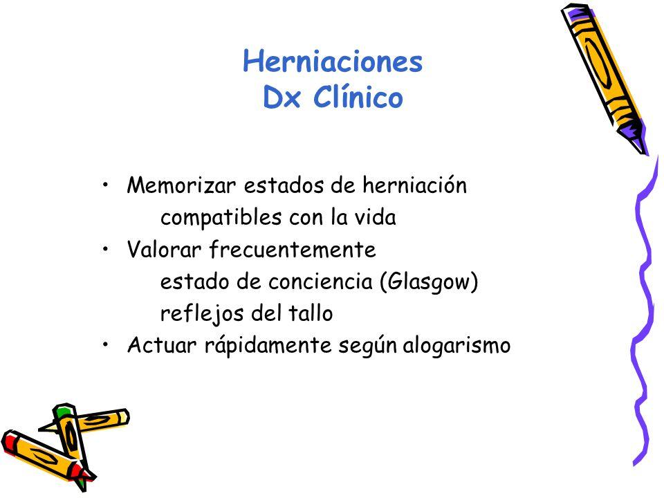 Herniaciones Dx Clínico Memorizar estados de herniación compatibles con la vida Valorar frecuentemente estado de conciencia (Glasgow) reflejos del tallo Actuar rápidamente según alogarismo